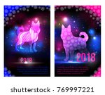 magic dogs 2018 new year... | Shutterstock .eps vector #769997221