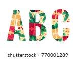 christmas alphabet set. green...   Shutterstock .eps vector #770001289