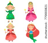 girls in new year's costumes | Shutterstock .eps vector #770003821