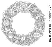 christmas door wreath. coloring ... | Shutterstock .eps vector #770004727