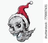santa skull head hand drawing... | Shutterstock .eps vector #770007631