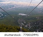 Small photo of View from the cable car of the Regency Casino Mont Parnes in Parnitha mountain, Attica, Greece