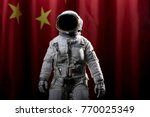 Astronaut With Chinese Flag In...