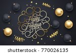 happy holidays flourish golden... | Shutterstock .eps vector #770026135