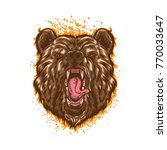angry brown bear with open... | Shutterstock .eps vector #770033647
