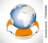 the globe and lifebuoy ring.... | Shutterstock .eps vector #77004886