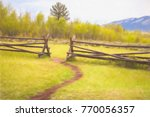 beaten path in turf ends at gap ... | Shutterstock . vector #770056357