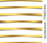 golden ribbons straight line... | Shutterstock .eps vector #770057341