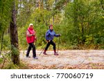 senior ladies nordic walking | Shutterstock . vector #770060719