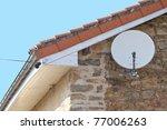 Satellite Dish Close Up On The...