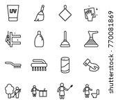thin line icon set   uv cream ... | Shutterstock .eps vector #770081869