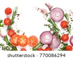 fresh vegetables and herbs on a ... | Shutterstock . vector #770086294