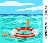 the rescue of a drowning man.... | Shutterstock .eps vector #770087131