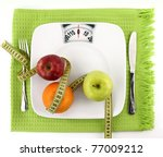diet concept. fruits with... | Shutterstock . vector #77009212