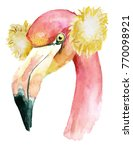 christmas pink flamingo with... | Shutterstock . vector #770098921