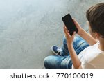 view from above. boy in white t ... | Shutterstock . vector #770100019