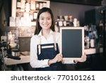 young asian women barista... | Shutterstock . vector #770101261