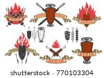set of doner kebab emblems... | Shutterstock .eps vector #770103304