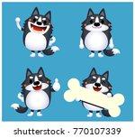 vector set of siberian husky... | Shutterstock .eps vector #770107339