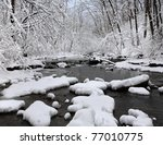 A Snow Covered Little Creek In...