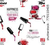 manicure vector seamless... | Shutterstock .eps vector #770110405