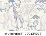 animals and trees seamless... | Shutterstock .eps vector #770124079
