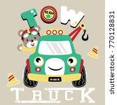 vector cartoon of tow truck... | Shutterstock .eps vector #770128831