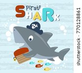 Vector Cartoon Of Pirate Shark...