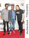 "Small photo of Barkhad Abdi, Hakeem Shady, Bryan Buckley attend LA Premiere of ""The Pirates Of Somalia"" at Grauman's Chinese Theatre,Los Angeles, California on December 6 2017"