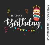 happy birthday wishing greeting ... | Shutterstock .eps vector #770134639