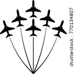 airplane flying formation  air... | Shutterstock .eps vector #770134807
