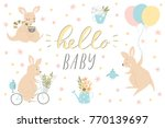 set of cute baby shower four... | Shutterstock .eps vector #770139697