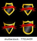 set of golden shields with dark ... | Shutterstock . vector #77014459