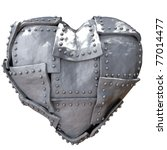 Image Of Iron Heart On White...