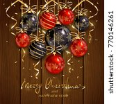 red and black christmas balls... | Shutterstock . vector #770146261