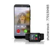smart phone and smart watch... | Shutterstock .eps vector #770150485