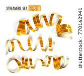 set of gold streamers on white. ... | Shutterstock .eps vector #770162941