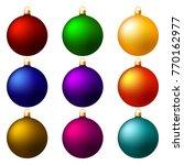 set of christmas balls on white ... | Shutterstock .eps vector #770162977