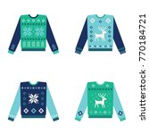 set of ugly christmas sweaters... | Shutterstock .eps vector #770184721