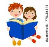 two children reading book | Shutterstock .eps vector #770186545