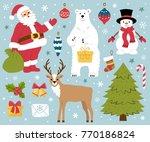 set of christmas elements. ... | Shutterstock .eps vector #770186824