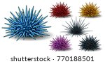 set of six sea hedgehogs or... | Shutterstock .eps vector #770188501