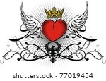 heraldic winged heart in vector ... | Shutterstock .eps vector #77019454