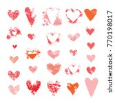 set of hearts sponge textures....   Shutterstock .eps vector #770198017