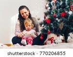 mother and daughter enjoying... | Shutterstock . vector #770206855