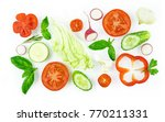 set of slices of vegetables... | Shutterstock . vector #770211331