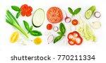 Set Of Slices Of Vegetables...