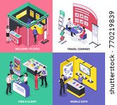 isometric expo stand exhibition ... | Shutterstock .eps vector #770219839