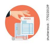 hand holding blank of receipt.... | Shutterstock .eps vector #770220139