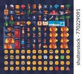 pixel art icons set. pirate... | Shutterstock .eps vector #770229091